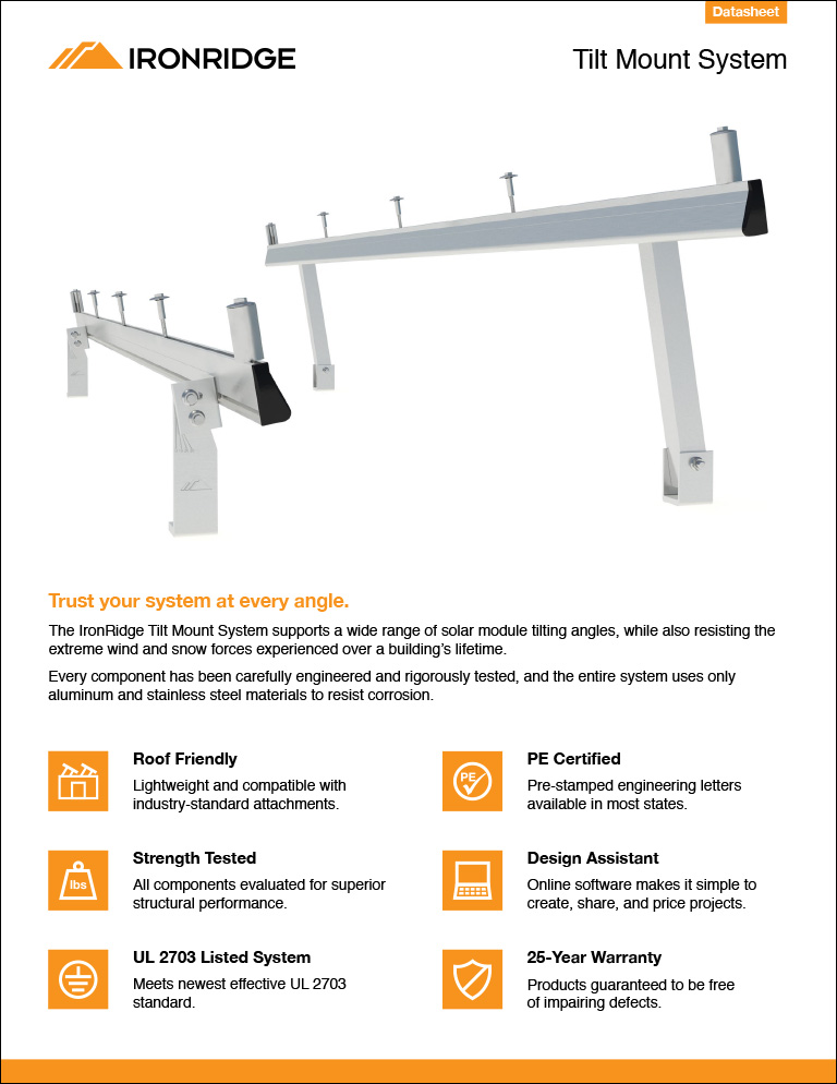 XR Tilt Mount for Flat Roofs